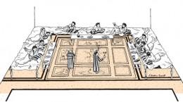 Reconstrucción de un banquete en un triclinio típico basado en un mosaico de una villa romana. Fuente en: http://bit.ly/1Db2qCw